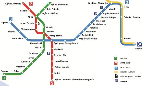 Mapa das Linhas do Metro de Athenas - Grécia